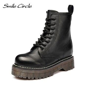 Smile Circle Size36-41/женские мотоциклетные ботинки на не сужающемся книзу массивном каблуке, сезон осень 2018, модные армейские ботинки с круглым нос...
