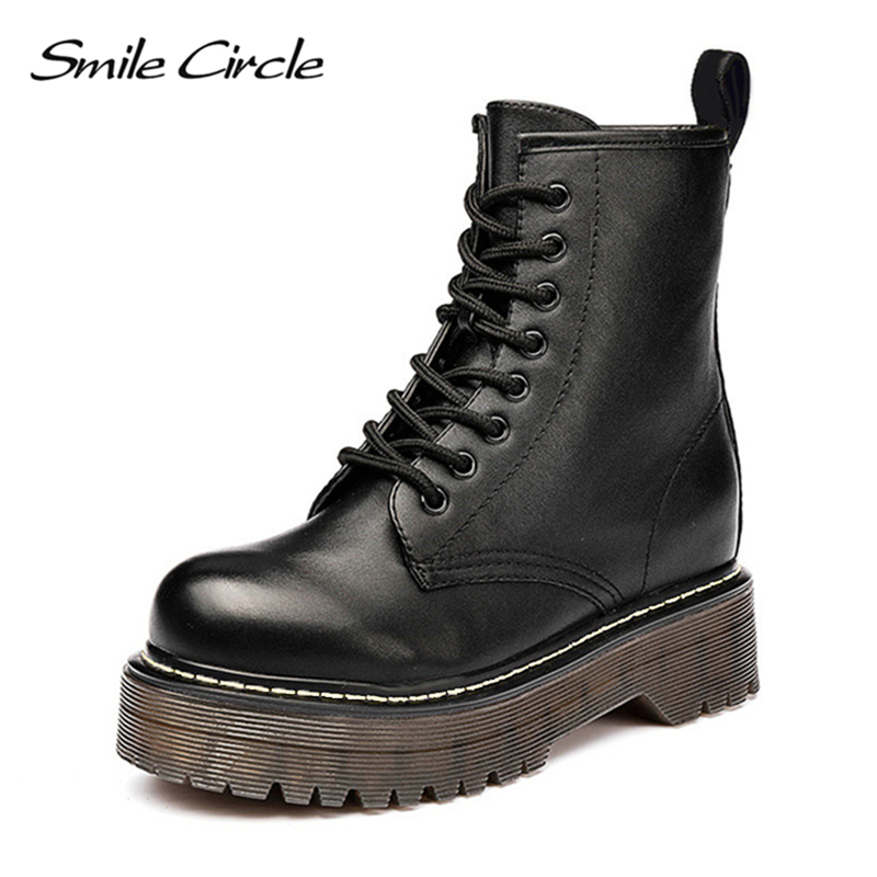 Smile Circle Size36 41 Chunky Motorcycle Boots For Women Autumn 2018 Fashion Round Toe Lace up Combat Boots Ladies Shoes-in Ankle Boots from Shoes