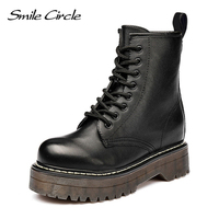 Smile Circle Size36 41 Chunky Motorcycle Boots For Women Autumn 2018 Fashion Round Toe Lace up Combat Boots Ladies Shoes