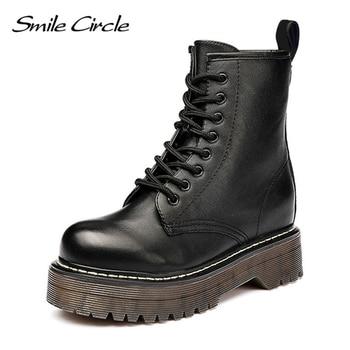 Uśmiech koło Size36-41 Chunky buty motocyklowe dla kobiet jesień 2018 moda okrągły nosek sznurowane buty wojskowe buty damskie