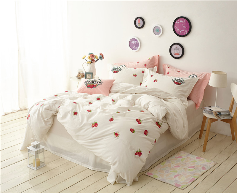100%Cotton Yarn White Pink color Bedding Set King/Queen Size Girls Bed set Duvet Cover Set Bed Sheet set /Pillow covers