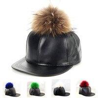 עור בייסבול שווי פום פום סגנון harajuku כובעי פרווה אמיתי אופנה snapback מתכוונן caps 5 צבעים זמינים משלוח חינם