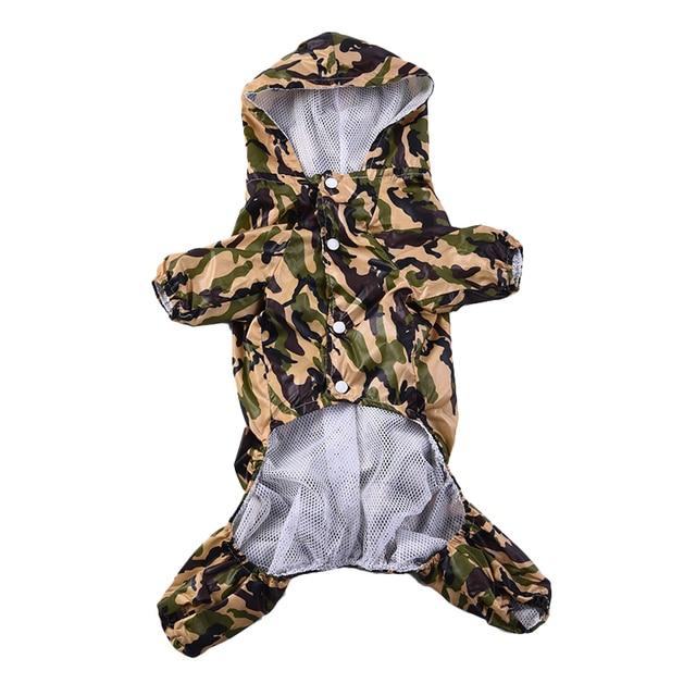 Pets Dog Raincoat Camouflage Jumpsuit  Pet Dog Clothes Puppy Hoodie Rain Coat Small  Middle Dogs Pet Jacket Size S/M/L/XL 1pcs