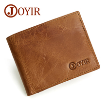JOYIR 2019 Genuine Leather Men Wallet Credi Card Holder Coin Purse RFID Short Wallets Vintage Small Silm For