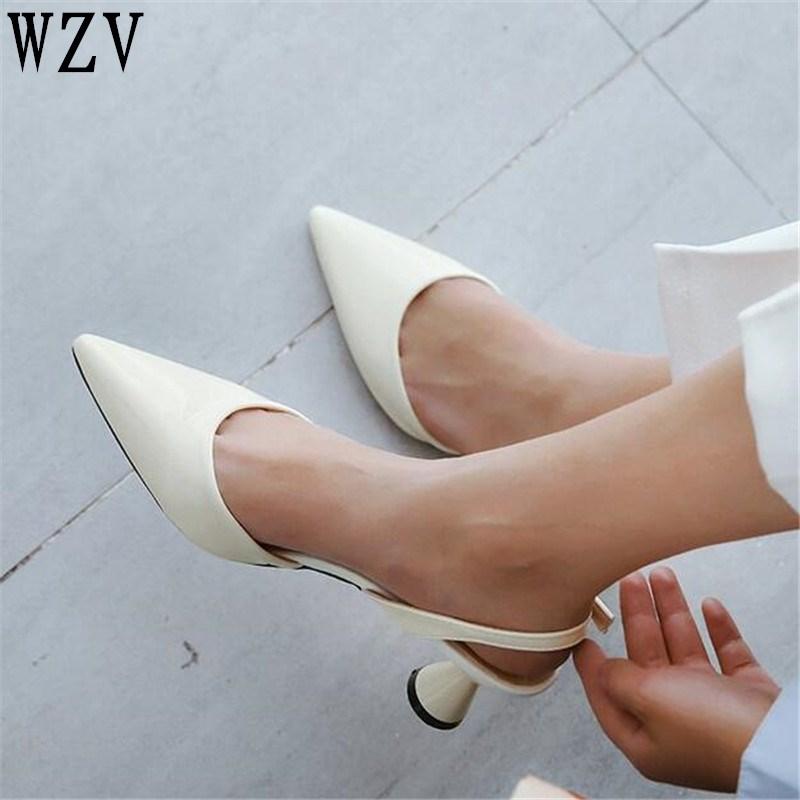 2018 woman High heels shoes Ladies Sexy Pointed Toe pumps Buckle heels dress wedding shoes Black white pink D019 цены онлайн