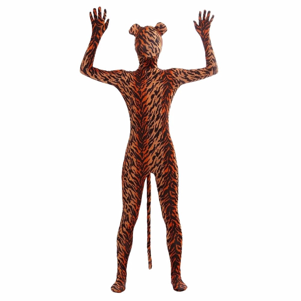 Tiger Full Body Zentai Suit Animal with Ear and Tail Zebra Lycra Spandex Zentai Bodysuits For Theater Cosplay Costumes Stage