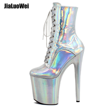 "Купить с кэшбэком Sexy Stripper Dancer 7"" High Heel Platform Magic color Lace Up Ankle Boots"