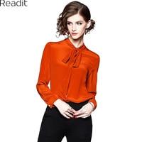 Readit Silk Blouse 2018 Spring Woman Shirt Blouse Bow Collar Ribbon Single Breasted Dark Orange Silk