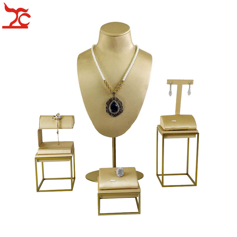 New Gold Stainless Steel Window Showcase Luxury PU Ring Earring Bracelet Watch Necklace Bust Jewelry Display Organizer Stand Kit