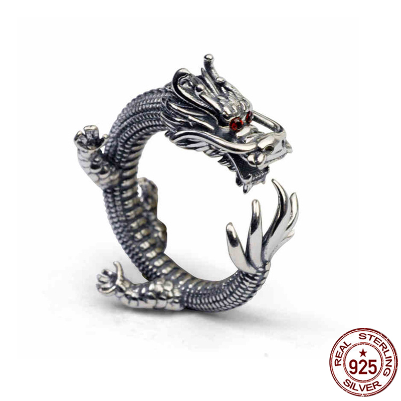 S925 sterling silver jewelry personality handmade retro Thai silver domineering Dragon p ...