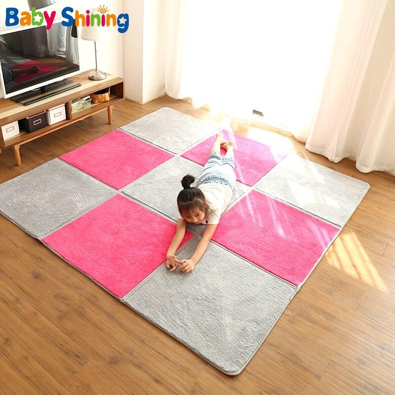 Bébé brillant 1.5 CM épaisseur tapis de jeu pliable tufté tapis 130X195 CM bébé tapis de jeu enfants chambre tapis antidérapant lavable en Machine - 6
