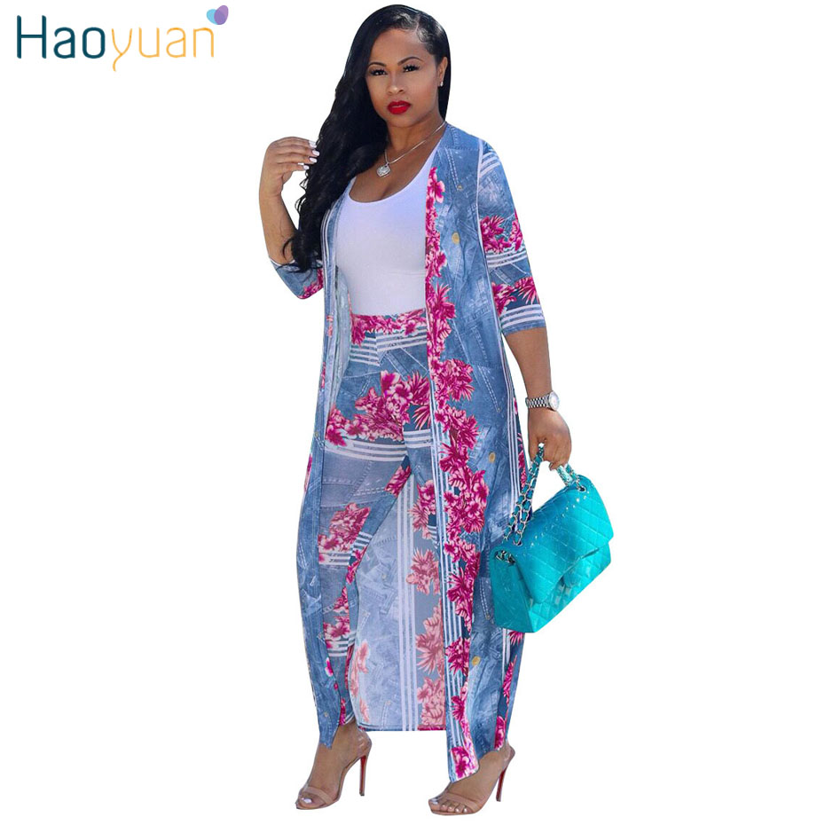HAOYUAN Plus Size Sexy two Piece Set Women clothes Cardigan Cloak Long Top And Bodycon Pant matching sets 2 Piece Summer Outfits