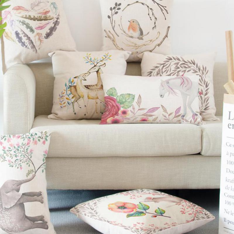 Small Fresh Cartoon Bird Pillow Cute Animal Deer Horse Elephant Fox Teapot Feathers Love Cushion For Modern Minimalist Chair