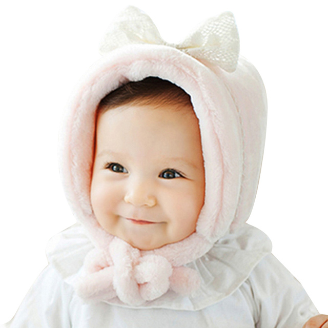 Hilenhug Baby Girl Winter Hat for 3 to 12 Months Infant Girls Kids White  Pink Bonnet with Bow Knot Very Warm Thick Soft Velvet cc2fc16c937