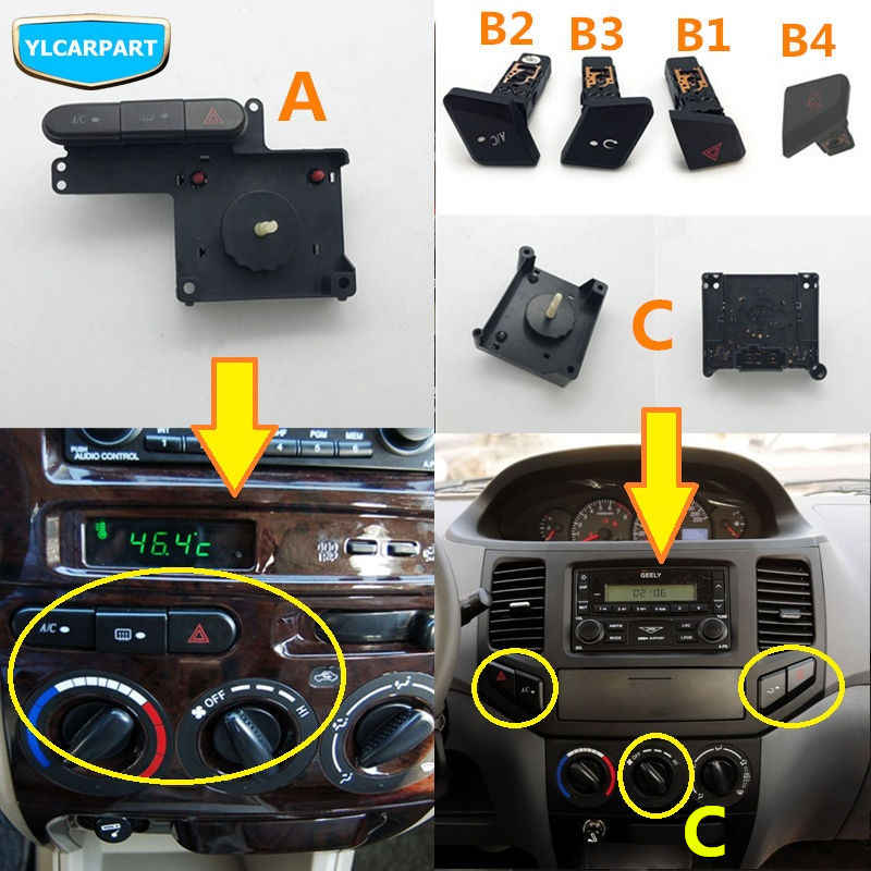 For Geely MK 1 2,MK1,MK2,Cross,Car conditioning blower fan switch,conditioning warning button