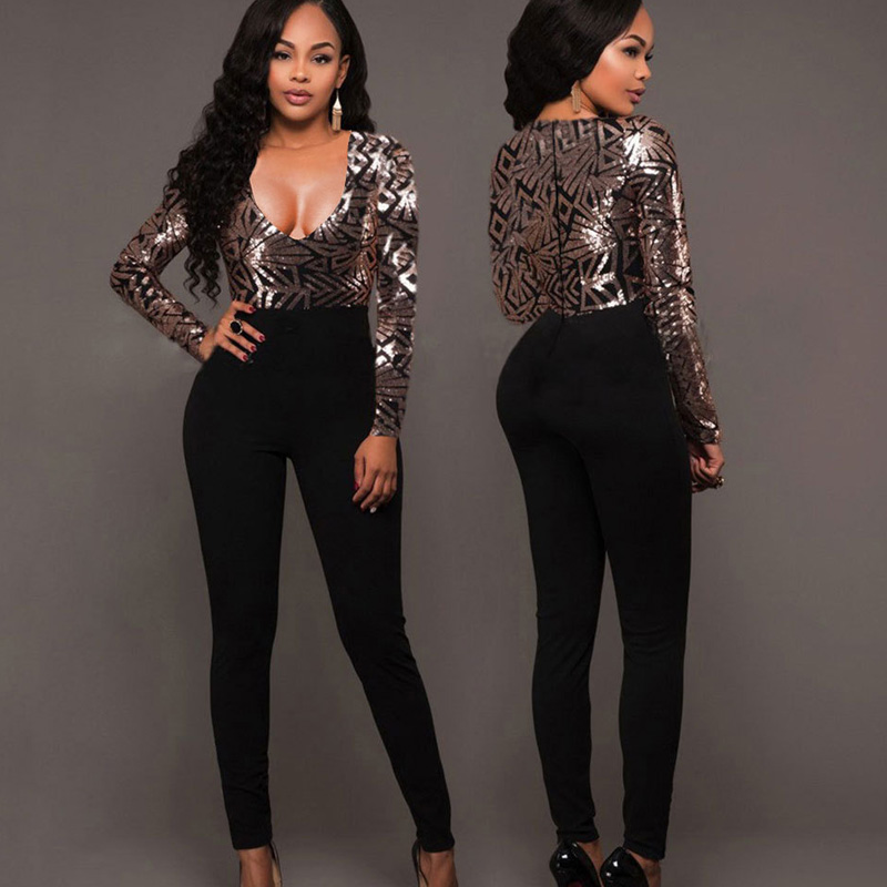 Black Sequin patchwork bandage   Jumpsuits   Women Sexy V-neck Sparkly Glitter Bodycon Party Long sleeve legging pant Rompers outfit