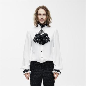 цена на Steampunk Victorian Gothic Black Tuxedo Shirts With White Collar Collar Blouses Tops white