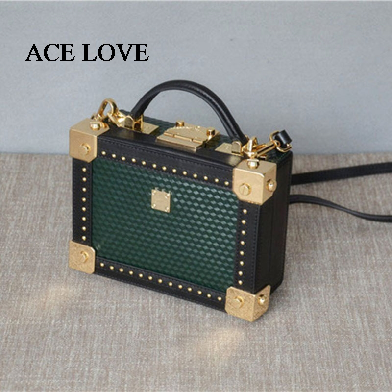 2017 New Arrival Women Fashion Rivet Patchwork Box Shoulder Handbags Genuine Leather Female Trunk Flap Totes Crossbody Bag  new arrival fashion color rivet metal decoration female totes shoulder bag handbag women s crossbody messenger bag 2 colors
