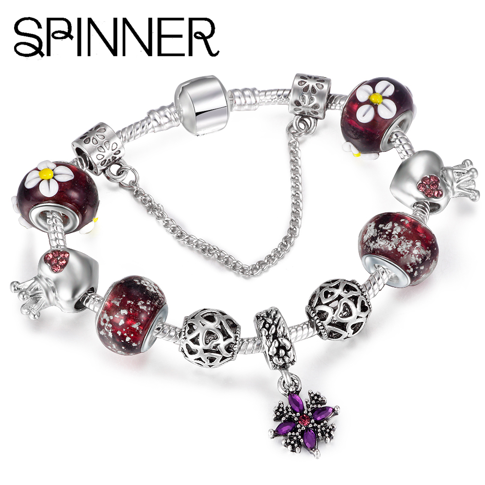 Jewelry & Accessories Spinner Flower Crystal Charm Beads Pave Aaa Zircon Charms Fit Pandora Charm Bracelets For Women Diy Jewelry Gift Beads & Jewelry Making