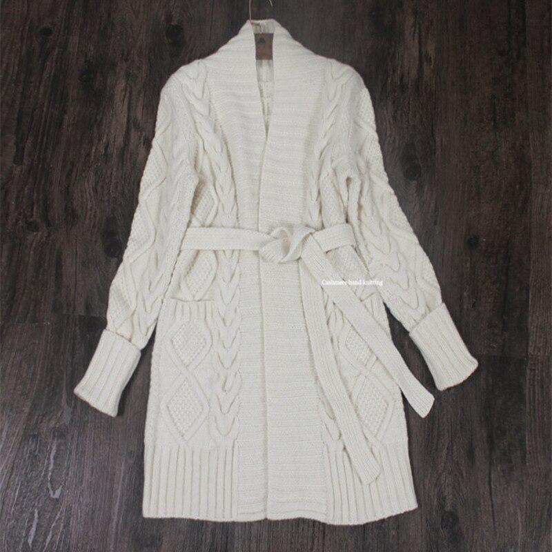 100% fait à la main de haute qualité chèvre cachemire ajouter épais femmes mode ceintures mi long cardigan manteau S-XL en gros détail personnaliser
