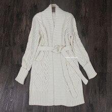 goat cashmere add thick women fashion sashes mid long cardigan coat