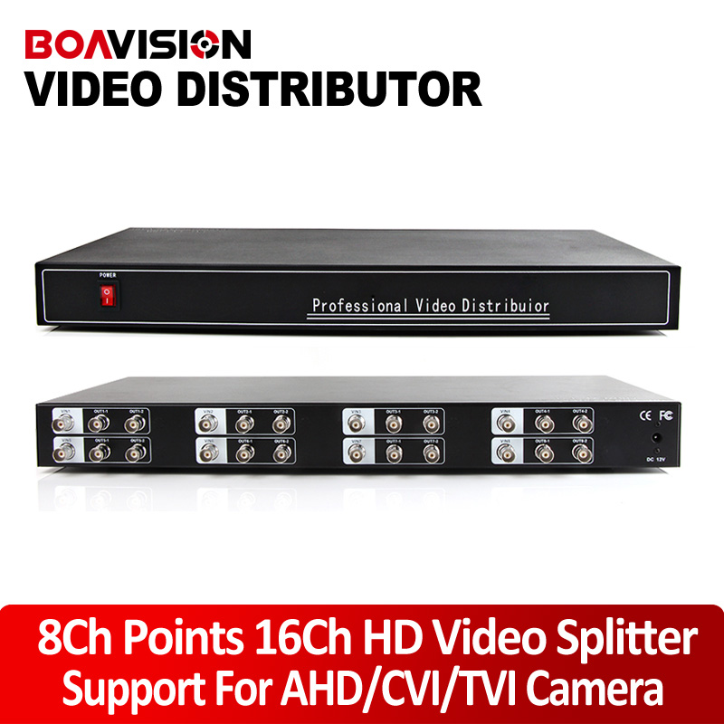 1080P/720P Video Splitter/Distributor8 Input 16 Outputs,Support 1080P/720P CVI/TVI/AHD Camera BNC In&Out,Distance Max to300-600M 2 to 4 video splitter hd video distributor bnc 2 input 4 output support hd ahd cvi tvi camera in