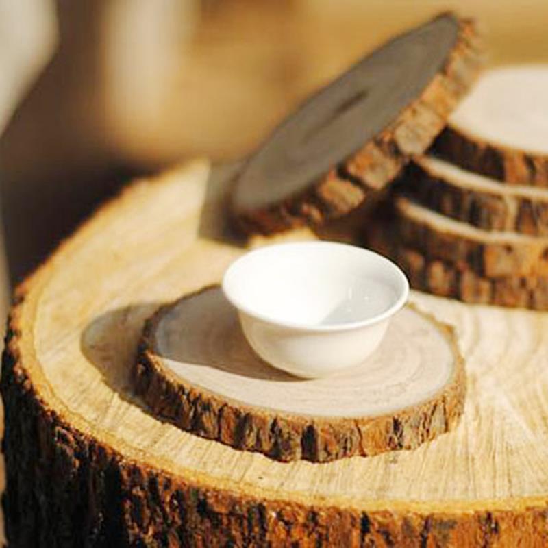 Medienos apvalios griežinėliai, medžio riešutai, 6 vnt., 7-9 cm paklotai, puodelis, puodelis, regeneruotas, medienos gabalėliai