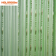 12 color Beads line curtain Modern Yarn Dyed Curtains for Home Living room door Hotel Cafe interior decoration Solid Curtain cheap Built-in Translucidus (Shading Rate 1 -40 ) Rope Polyester Cotton Tube Curtain Flat Window Left and Right Biparting Open