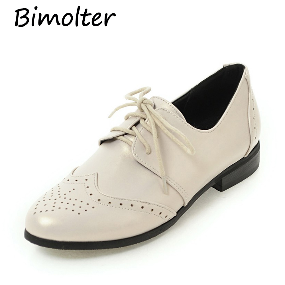 Bimolter New Women Fashion Lace up Brogue Shoes Pointed Toe Lady 39 s Super Big Size 30 50 Classic Casual Comfortable Flats PFEB004 in Women 39 s Flats from Shoes
