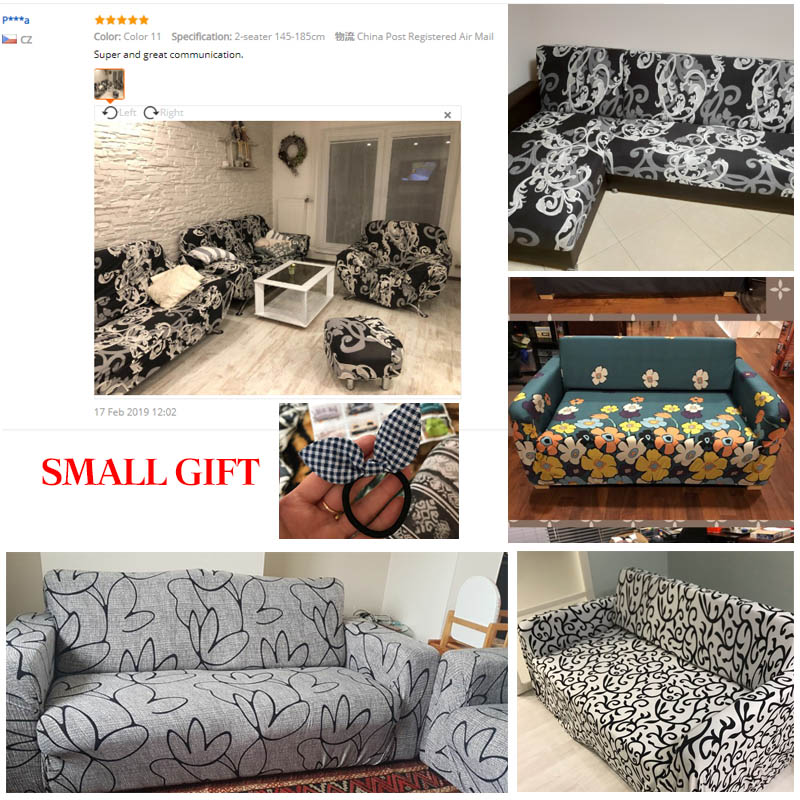 Floral Printing and Wrinkle Free Sofa Cover with Elastic Bands and Straps for Living Room Corner Sofa 5