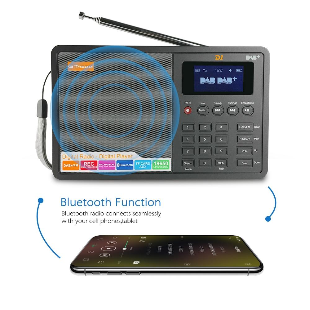 GTMEDIA D1 Portable Digital Radio FM stereo/ RDS Multi Band Radio Speaker with LCD Display Alarm Clock