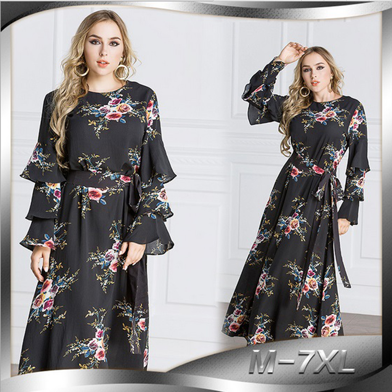 6229e0e69946 cheap elegant maxi dress abaya print flower plus size muslim long robe gowns  loose style middle