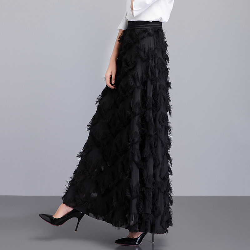 New Summer Long Skirt Women 2019 Spring Feather Tassel Skirts Female Elegant Runway Skirt Maxi Party Jupe Faldas Largas Mujer