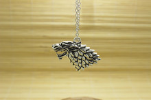 1pcs/ antique silver tone Hot Movie The song of ice and fire Game of Thrones HOUSE Stark Wolf Pendant Necklace(China)