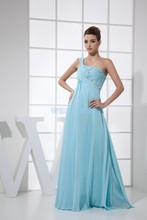 free shipping halle berry one shoulder 2013 vestido formal evening gowns beading custom made chiffon sexy women dress