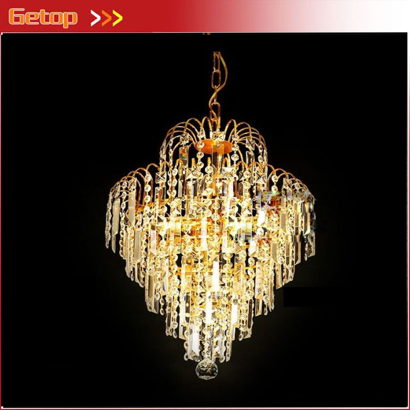 Modern Luxury Crystal LED Chandelier Gold Cone Crystal Chains Engineering E14 Lights Fixture for Restaurant Livingroom Lamp