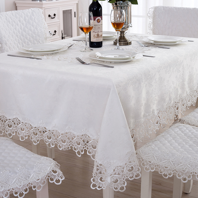 WLIARLEO Tischdecke Hohl Staubdicht Hochzeit, Esstisch Tuch Mit Spitze Weiß Wohnzimmer  Tischdecke Manteles Para Mesa