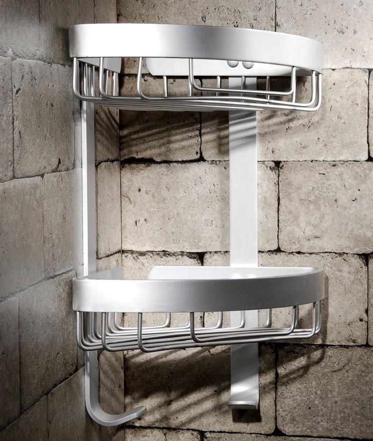 Bathroom Shelves Dual Tier Holder Metal Wall Mount Shower