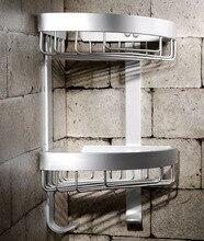 Bathroom Shelves Dual Tier Holder Metal Wall Mount Shower Corner Shelf Towel Hook Storage Bathroom Accessories Toilet Rack 2525