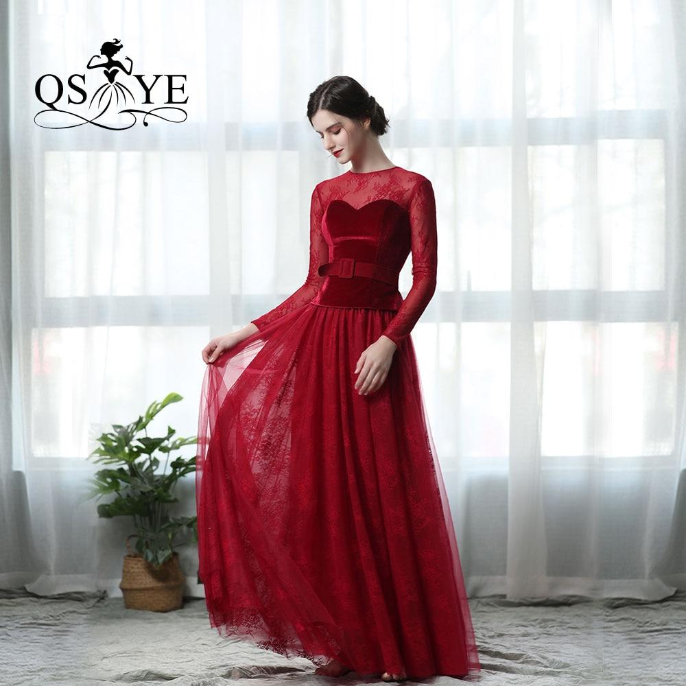 QSYYE 2019 incroyable pas cher élégant velours dentelle soirée robes de bal vin rouge cristal ceinture Discount bas prix robe de soirée