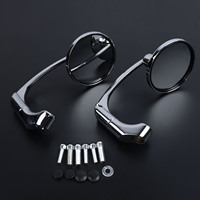 1 Pair Plating Motorcycle Round Rearview Mirror 10mm Handlebar Modified Parts