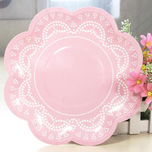 12pcs Lace Flower shaped Paper Disposable Plates Wedding Supplies Candy Color Party Decoration Accessories(China & Buy disposable plates for weddings and get free shipping on ...