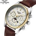 Известный Бренд Большой Циферблат GUANQIN Мужчины Часы Модные Мужские Дизайнер Световой Кварцевые Часы Кожа Мужчины Наручные Часы Moon Phase Мужские Часы