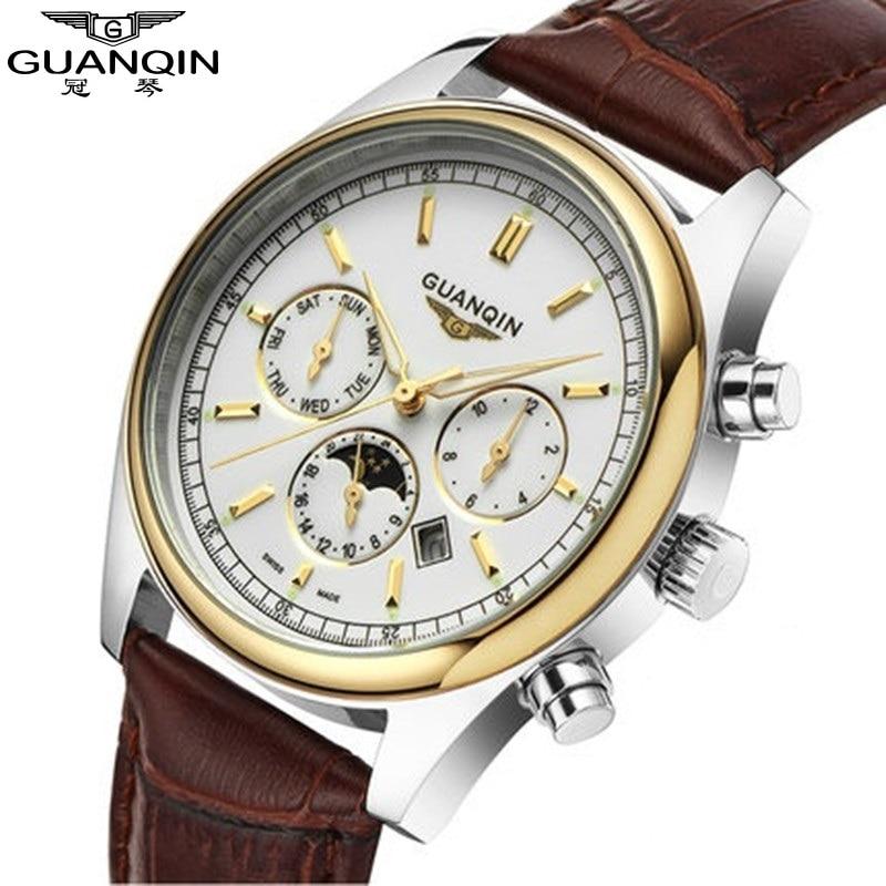 ФОТО Famous Brand Big Dial GUANQIN Men Watch Fashion Mens Designer Luminous Quartz Watch Leather Men Wristwatch Moon Phase Mens Watch