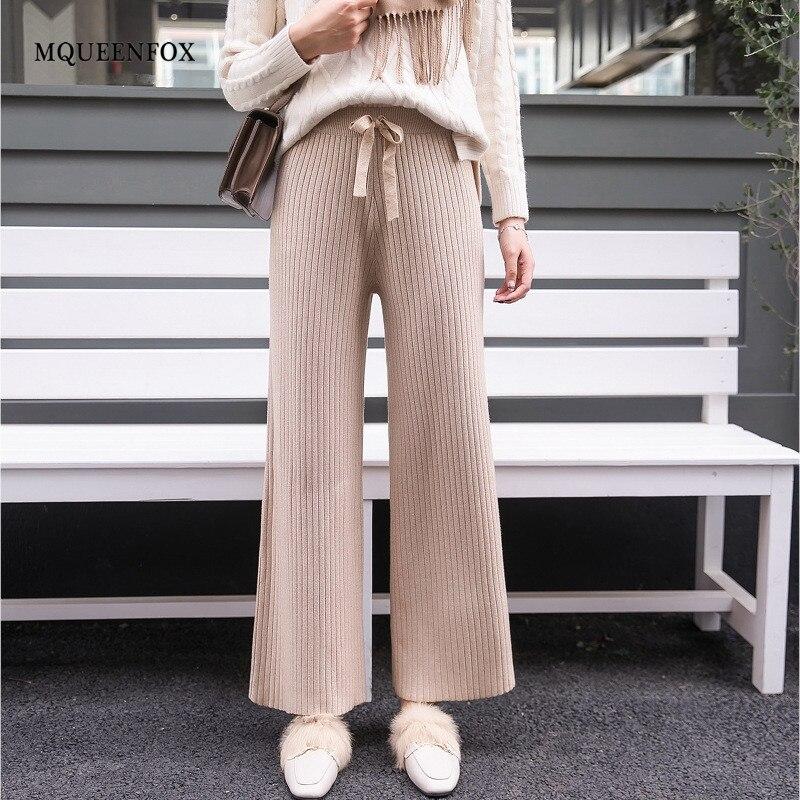 Cotton Knitted High Waist Wide Leg Pants 2019 Autumn Wool Cashmere Pants Female Casual Broad Leg Trousers Bottom Women Pants