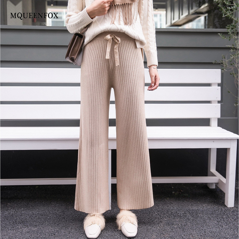 Cotton Knitted High Waist Wide Leg Pants 2019 Autumn Wool Cashmere Pants Female Casual Broad Leg Trousers Bottom Women Pants