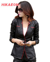 Leather Jackets For Women Suede Blazer Biker Ladies Patchork Synthetic Lether V Neck Brand Factory Direct