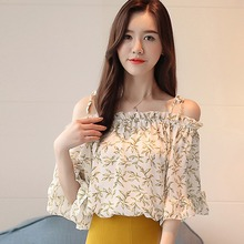 Korean  print Blouse Fashion versatile slim off-the-shoulder sweet chiffon shirt women Halter Vintage Samll fresh blouse sweet off the shoulder women s flounced blouse
