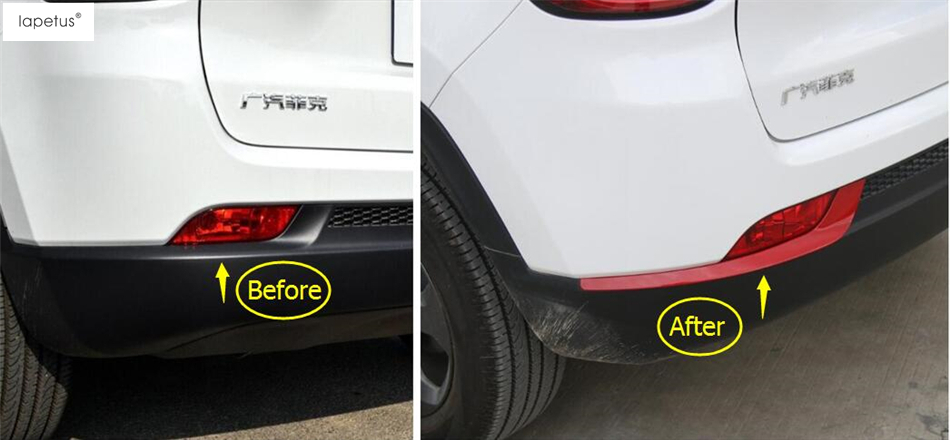 Accessories For Jeep Compass 2017 2018 ABS Rear Tail Trunk Bumper Decoration Molding Cover Kit Trim 2 Pcs / 3 Color For Choice