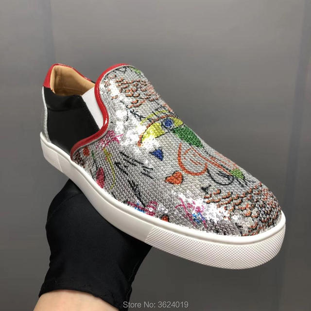 4d78225d3b2688 clandgz White with Graffiti sequins or glitter Blingbling diamon Slip-On  Red bottom shoes Sneakers Leather Loafers 2018 Footwear